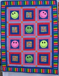 HAND MADE Child's Smiley face Quilt - custom order made by M.S. ... & HAND MADE Child's Smiley face Quilt - custom order made by M.S. Spotten Adamdwight.com