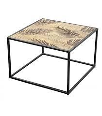 coffee table black metal and mdf 70x70cm