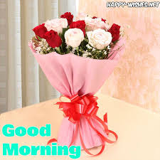 good morning wishes with rose bouquet images