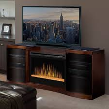 dimplex acton walnut electric fireplace media console glass embers