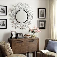Round Native Hand Embroidered Tribal Geometric Hanging Wall Mirror Home  Accent