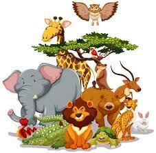 wild animals clipart. Delighful Animals Group Of Wild Animals Gathering Near A Tree Illustration Inside Wild Animals Clipart I