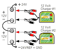 connecting batteries & chargers in series & parallel deltran How To Hook Up Two Batteries In A Boat Diagram figure 7 two batteries in series, two chargers