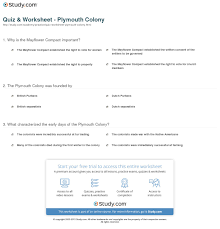 quiz worksheet plymouth colony study com already registered login here for access