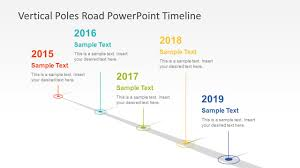Power Point Time Line Template Vertical Poles Road Powerpoint Timeline