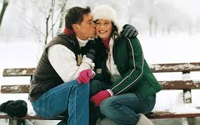 couple kiss winter dating love