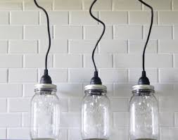 jar lighting. Mason Jar Lighting Set Of 3 Hanging Large Clear Pendant Lights Handmade Rustic Country