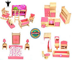 miniature wooden dollhouse furniture. Giraffe 4 Set Pink Wooden Dollhouse Furniture, Miniature Bathroom/ Kid Room/ Bedroom/ Furniture