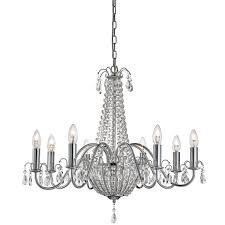 hampton 8 light crystal chandelier chrome clear crystal deco
