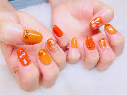 梅雨も明けて夏の始まりオレンジで元気いっぱいネイル モアハピ部