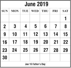 Blank June 2019 Calendar Printable In Pdf Word Excel