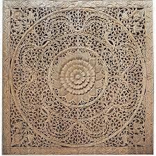 lotus carving wall art bed headboard