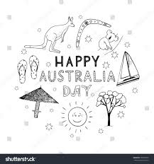 hand drawn lettering with doodle australian symbols for australia day inscription for cards posters