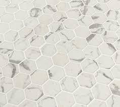 2x2 statuario celano hexagon white recycled glass mosaic tile