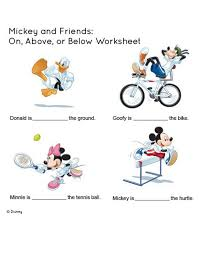 Mickey and Friends: On, Above, or Below Worksheet| Kids Colouring ...