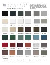 Steel Roof Color Chart Pvdf Color Chart Fine Metal Roof Tech