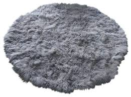 8 tibetan mongolian lamb fur round rug grey area rugs by curly fur imports