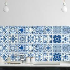 pack of 16 blue tile stickers wall
