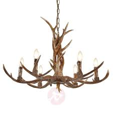 six bulb antler chandelier stag resin and steel 8573009 01