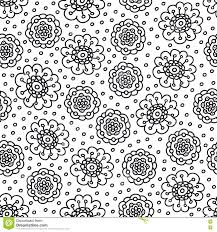 coloring page flower pattern seamless hand drawn background for coloring book black and white