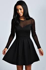 Boohoo Womens Annie Long Sleeve Crew Neck Hip Length Mesh Detail Mesh Insert Long Sleeve Skater Dress Black
