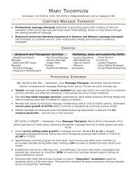 Sample Massage Therapist Resume Sugarflesh