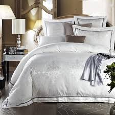 US $88.4 48% OFF White Bed Set Jacquard Silk Home Textile Bedding Set Luxury 4/6PCS Satin Doona Duvet Cover Bedclothes Bed Linens King Queen Size-in ...