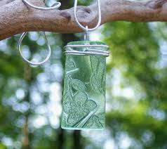Bottled Up Designs Bottled Up Designs Green Depression Glass Rectangle Pendant