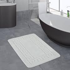 Badezimmer Teppich Bordüre Weiß Teppichcenter24