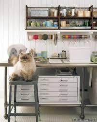 Martha Stewart Craft Room.   Love It. Shelf Brackets, Wire Shelves, Wall
