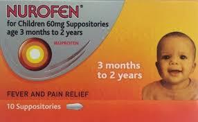 nurofen for children 60mg suppositories 3 months to 2 years 10 suppositories