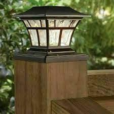 bronze solar led deck post cap light