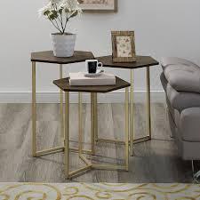 walker edison furniture company modern transitional dark walnut gold hex wood and metal nesting tables