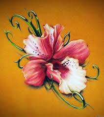эскиз тату фото узор с орхидеей и колючими ветками татуировки и