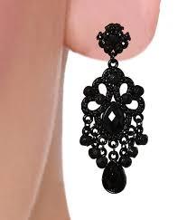 diva black chandelier earrings