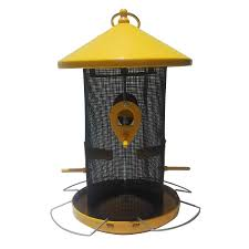 garden treasures yellow black steel bird feeder
