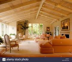 Peach Living Room A Living Room With Classical Paintings Open Beam Cieling