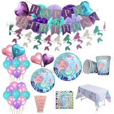 Mermaid Party Decorations Set Paper Plates Cups Napkins Straws Tablecloth PomPoms First Birthday Girl Banner Garland