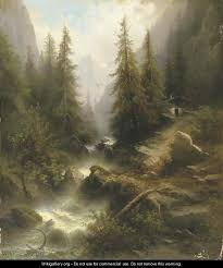 waterfall cascading amongst the pine trees in the alps by albert rieger oil painting