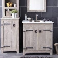 Rustic white furniture Bedroom Furniture Furniture Creative Distressed Wood Bathroom Vanities Using Rustic White Oak Cabinets With Antique Iron Strap Hinges And Hammered Copper Undermount Sink Pinterest Furniture Creative Distressed Wood Bathroom Vanities Using Rustic