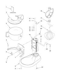kitchenaid parts. kitchenaid k45sswh parts list and diagram com - mixer