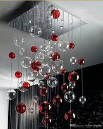 chic light fixture chandelier red amp clear glass bubbles ball chandelier light pendant lamp