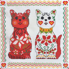 Cat Cross Stitch Patterns Fascinating Iveta Hlavinova Two Elegant Cats Cross Stitch