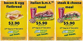 subway menu 2013. Plain Menu Subway Singapore Fresh Deals For The Week Till 3 Oct 2013 Throughout Menu 2013 I