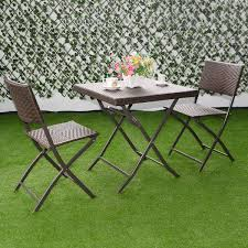 costway 3 pc outdoor folding table chair furniture set rattan wicker bistro patio brown 0