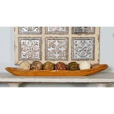 Long Decorative Bowl Brown Teak Wood CanoeShaped Long Bowl100 The Home Depot 54