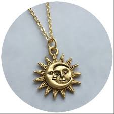 sun and moon necklace 18mm gold plated