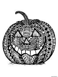 Coloriage Mechante Citrouille Halloween Zentangle Adulte Dessin
