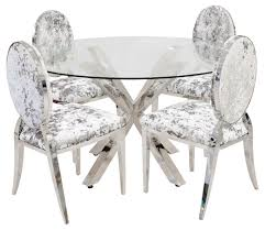 crossley glass dining table shown with chairs