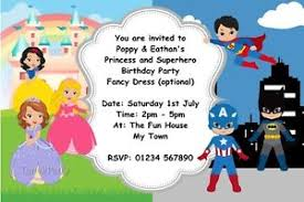superheroes birthday party invitations personalised birthday party invitations princess and hero